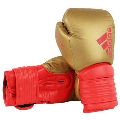 Adidas Hybrid 300 Boxing Gloves - Gold/Red (16oz)