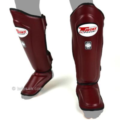 Twins Double Padded Shin Guards - Maroon