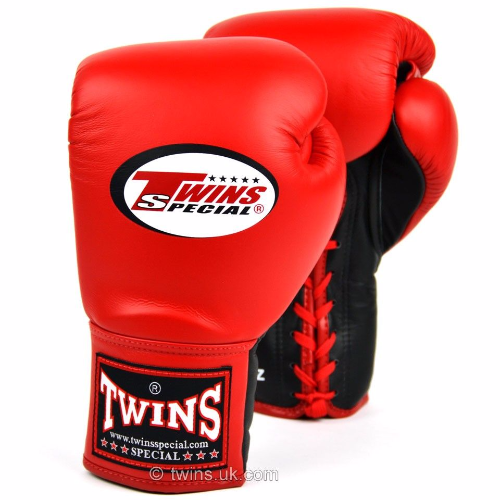 Twins Lace Up Competition Gloves - Red