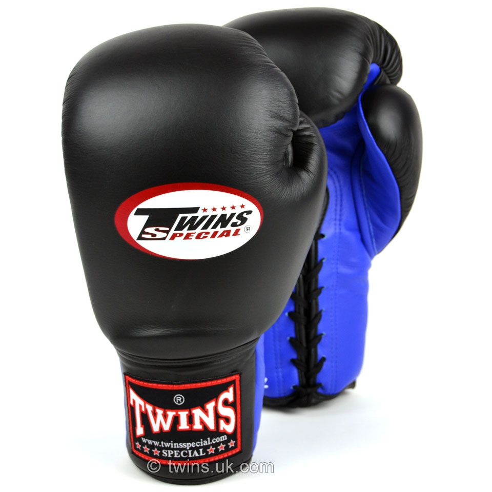 Twins Lace Up Sparring Gloves - Black/Blue