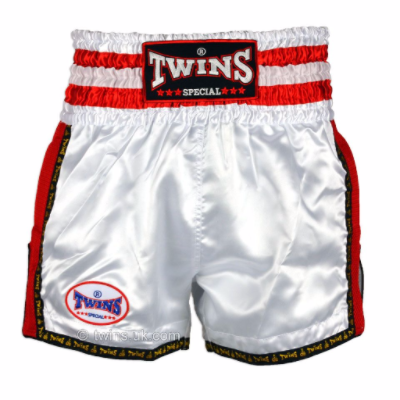 Twins TWS-927 White/Red Retro Muay Thai Shorts