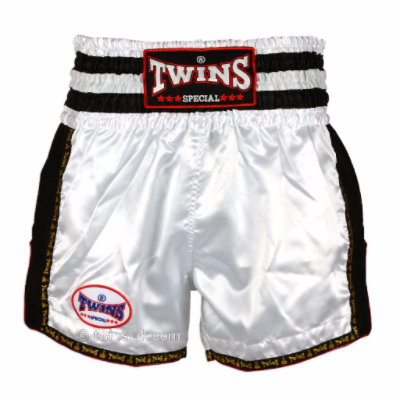 Twins TWS-928 White/Black Retro Muay Thai Shorts